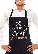 HIER GRILLT DER CHEF PERSÖNLICH - Grill-, Küchen-, Latzschürze - Schwarz