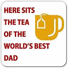 Hier liegt der Tee der World's Best Dad-Untersetzer, Tolles Geburtstagsgeschenk oder als Geschenkidee für Weihnachten! perfekt für Father's Day.