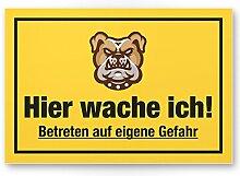 Hier Wache ich (gelb) - Hunde Schild, Hinweisschild Gartentor / Gartenzaun - Türschild Haustüre, Warnschild Abschreckung und Einbruchschutz - Achtung / Vorsicht Hund