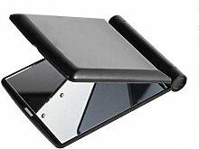 High-Definition-LED-Lichter Make-up Spiegel Klapp-Spiegel Trompete mit Licht dressing Spiegel Desktop doppelseitigen weiblichen Make-up Spiegel 11.3cm * 8.5cm * 1.1cm , Black