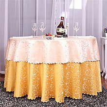 High-End Hotel Tischdecke Restaurant Runde Tischdecke Bankett Hochzeit Runder Tisch Taiwan Rock Europäischen Stil Esstisch Double Layer Tuch ( farbe : # 3 , größe : 200cm )