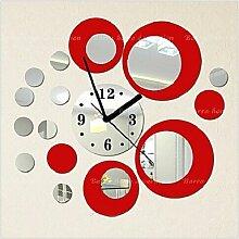 High-End-Mode kreative DIY Acrylspiegel Wandfarbe Poster Runde Wanduhr , red