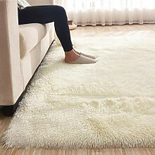 High Pile Shaggy Area Rug, Rechteck Solid Color