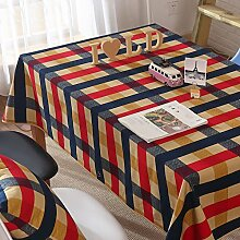 High quality,100 % baumwolle tischdecke/mafan tisch tuch/tee tischdecke/rot und blau,wide karo tischtuch-A 80x120cm(31x47inch)