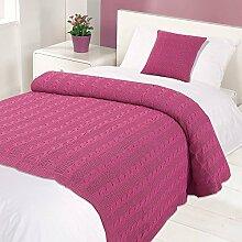 highams Baumwolle Geflochtenes Kabel Knit Bett Decke/Überwurf, Stiefmütterchen Pink, Single, 125x 150cm
