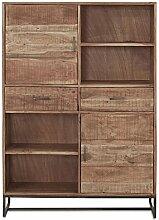 Highboard Holz Metall Massivholz Akazie 2 Türen 2