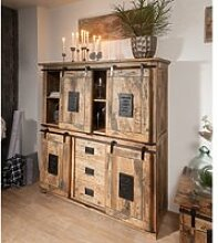 Highboard Mango 150x45x160 natur lackiert RAILWAY