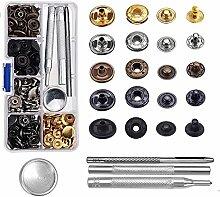 HighCool 60 Set Metall Druckknöpfe,Schnappverschluss Werkzeuge Set,12.4mm Druckknopf Set 4tlg Werkzeug Locheisen mit Aufbewahrungsbox,Ideal zum Nähen von Schnappknöpfen auf Kleidung