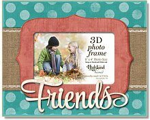 Highland Home Friends 3D Bilderrahmen aus Holz,