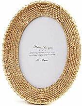 HIKEL Goldener runder Bilderrahmen 10,2 x 15,2 cm