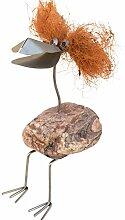 Hildegard sitzend Edelstahlvogel mit Naturstein und Kokosfaser-Haaren Gartenfigur und Gartendeko als Steinvogel aus Edelstahl und Stein Größe M ca 35 cm hoch