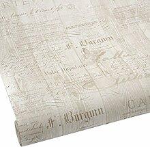 Hill Interiors Kalligraphie natur Tapete –, braun/grau/cremefarben/hellblau