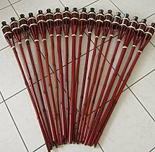 Hillfield® 18 x Gartenfackel Mahagoni Bambus