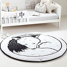 HILTOW Runder Teppich für Babyzimmer, süßes