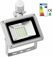 HimanJie 20W LED Strahler Mit Bewegungsmelder Fluter Außenleuchte Mit Aluminium-Legierung Wasserfest IP65 220V AC