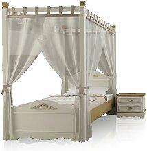 Himmelbett Bett 90x200cm DIANA Antikweiss inkl. Vorhang