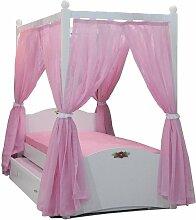 Himmelbett Bett 90x200cm MELLY Rosa inkl. Vorhang