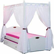 Himmelbett Bett 90x200cm MELLY Weiss inkl. Vorhang