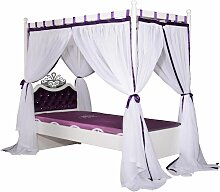 Himmelbett Bett 90x200cm PRINZESSIN Lila inkl. Vorhang
