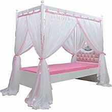 Himmelbett Bett Anastasia weiss rosee 90x200