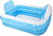 Himmelblau + Pedalpumpe aufblasbare Wanne Faltbadewanne dicke erwachsene Badewanne keine Abdeckung PVC Kunststoff 152 * 108 * 60 cm