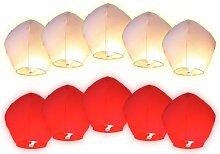 Himmelslaternen weiß rot für Hochzeit | Skylaternen 10 Stück nicht entflammbar Höhe: ca. 110 cm, Durchmesser: ca. 70 cm | Skyballon schwebende Glückslaterne 100% biologisch abbaubar | 10 Laternen bunt | ALSINO