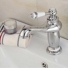HiMqhy Wasserhahn - Blau und Weiß Porzellan einzelne Bohrung Waschbecken WasserWasserhahn voll Kupfer Gold WasserWasserhahn Küche Badezimmer Badezimmer Armatur