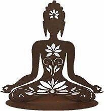 HINDU-GÖTTIN auf Platte Ferrum 56cm Edelrost Gartendeko Metall Figur Buddha Yoga