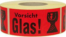 Hinweis Etiketten Vorsicht Glas - Transpak