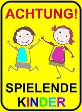 Hinweis-Schild Achtung spielende Kinder I hin_065 I Größe 30 x 40 cm I Warnschild Spielstraße Spielplatz I Vorsicht Kinder langsam fahren