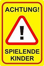 Hinweis-Schild Achtung! Spielende Kinder I hin_075 I Größe 30 x 40 cm I Warnschild Spielstraße Spielplatz I Vorsicht Kinder langsam fahren