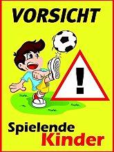 Hinweis-Schild Vorsicht spielende Kinder I hin_118 I Größe 30 x 40 cm I Warnschild Spielstraße Spielplatz I Achtung Kinder langsam fahren