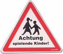 Hinweisschild - Achtung spielende Kinder - Kind Schild Warnschild Spielplatz Spielstraße Spielstrasse Warnzeichen Arbeitssicherheit Türschild Tür Kunststoff Kunststoffschild Geschenk Geburtstag T-Shir