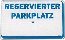 Hinweisschild - Reservierter Parkplatz für - Reserviert Parken Auto Firma Geschäft Unternehmen Laden Fabrik Manufaktur Werkstatt Atelier Schild Warnschild Warnzeichen Arbeitssicherheit Türschild Tür Kunststoff Kunststoffschild Geschenk Geburtstag T-Shir