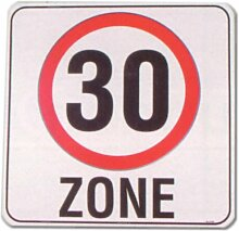 Hinweisschild - Zone 30 - Zonenschild Verkehrsberuhigt Verkehrsberuhigte Zone Verkehrsschild Schild Warnschild Warnzeichen Arbeitssicherheit Türschild Tür Kunststoff Kunststoffschild Geschenk Geburtstag