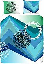 Hip Doppelbett 100 Prozent Baumwolle/Satin Bettwäsche, Grafik, Multi-Color, grün