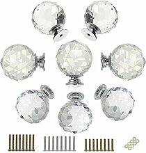 hipiwe 8PCS 40mm Kristall klar Glas Tür Knöpfe–Diamant Rund Schrank Knöpfe/Schrank Schublade Pull Griffe/Glas Kommode Schrank Knöpfe mit 3Arten von Schrauben
