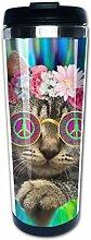 Hippie Cat Kitty Tie Dye Peace Zeichen Festival