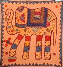 Hippie Hippie indische Stickerei, 100% Baumwolle, Patchwork-Elefant Wandbehang Tischdecke, im, Gobelin Vintage-Stil aus Baumwolle, Esszimmerstuhl, Tischdecke, Room Decor Art, 32 x 32 cm