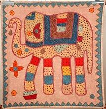 Hippie Hippie indischen bestickt Patchwork 100% Baumwolle Beige Elefant Wandbehang Wandteppich, Vintage Baumwolle Tisch, Tischdecke Decor, 81,3x 81,3cm