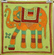 Hippie Hippie indischen bestickt Patchwork 100% Baumwolle grün Elefant Wandbehang Wandteppich, dekorative Tischdecke, Esszimmer Decor, 81,3x 81,3cm