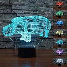 Hippo 3D-LED-Lampe, abstrakte optische Illusion,