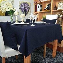 Hippolo 1-teilig Baumwolle einfarbig Tischdecke Rechteck Tischdecke für Esstisch dicken Tisch decken (140*160cm, Marineblau)
