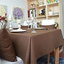 Hippolo 1-teilig Baumwolle einfarbig Tischdecke Rechteck Tischdecke für Esstisch dicken Tisch decken (100*140cm, Braun)