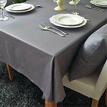Hippolo 1-teilig Baumwolle einfarbig Tischdecke Rechteck Tischdecke für Esstisch dicken Tisch decken (140*200cm, Grau)
