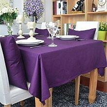 Hippolo 1-teilig Baumwolle einfarbig Tischdecke Rechteck Tischdecke für Esstisch dicken Tisch decken (140*200cm, Lila)