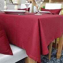 Hippolo 1-teilig Baumwolle einfarbig Tischdecke Rechteck Tischdecke für Esstisch dicken Tisch decken (140*200cm, Rot)