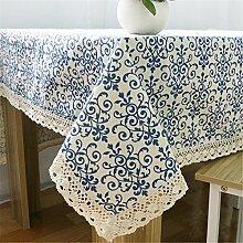 Hippolo Blau & Weiß Porzellan Tischdecke Tischdecken Baumwolle Leinen Tischdecke Küche Esstisch Abdeckung (100*140cm)