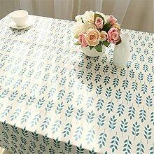 Hippolo Grünes Olive Leaf Pattern Baumwolle Leinen Tischdecke Pastoralen Einfachen Hause Dekorative Tischdecken (140*160cm)