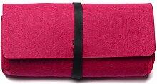 Hippolo Modische Männer und Frauen Universelle Einfarbig mit Filzfilz-Sonnenbrillen-Box (Rose Rot)